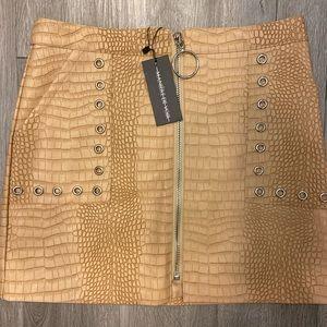 Maniére De Voir beige faux croc mini skirt